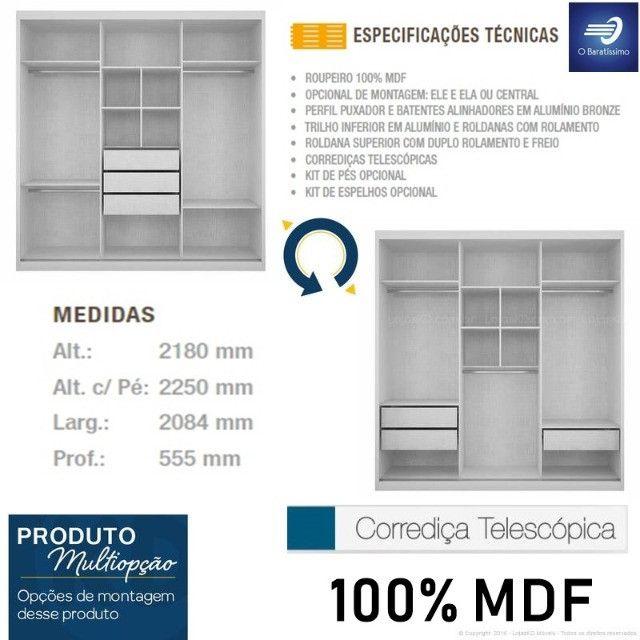 Guarda-roupa 100%MDF com Espelho - Foto 3