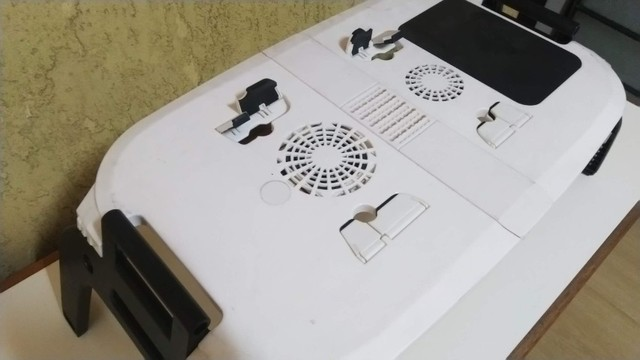 Mesa para Notebook Com Cooler Dobrável E Ajustável Formato Ergonômico, Nova, barato. - Foto 6