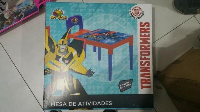 Mesa Mesinha e Cadeira Infantil Transformers