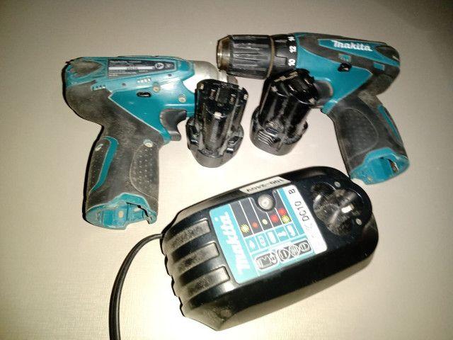 Kit parafusadeira, uma furadeira e uma parafusadeira com duas baterias e um carregador - Foto 4