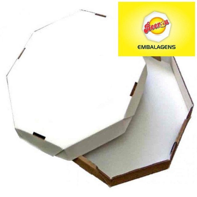 50 Caixas Embalagem Pizza 35cm Oitavada Branca Tbm personalizamos, temos todos os tamanhos - Foto 3
