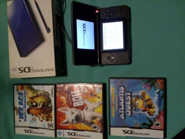 Nintendo DS Lite Azul + 3 Jogos + Fonte