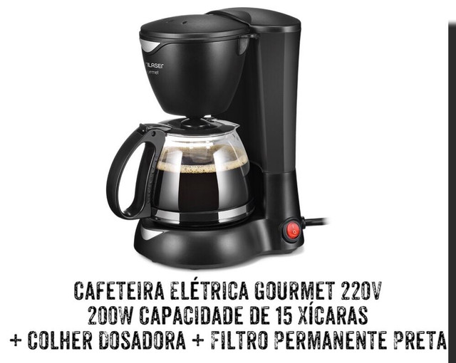 CAFETEIRA ELÉTRICA GOURMET 220V 200W CAPACIDADE  15 XICARAS