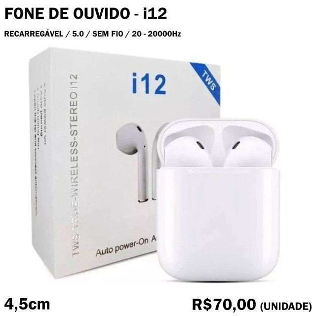Fone de Ouvido i12 Bluetooth Sem Fio