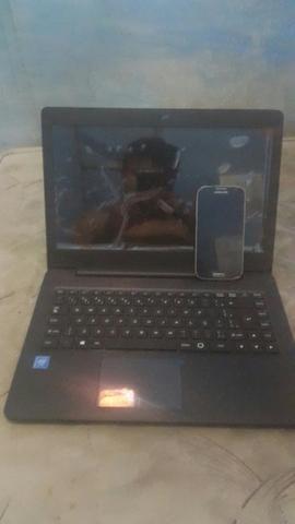 Notebook novo + celular Samsung S4 vendo ou troco em tv