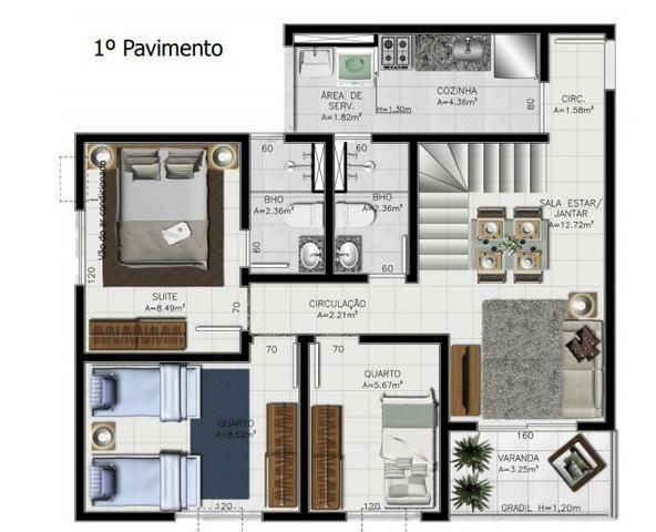 Cobertura Duplex, 4 quartos sendo 1 suíte, 2 vagas, Belém PA - Foto 3