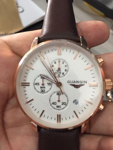 Relógio Guanqin Social Pulseira de Couro