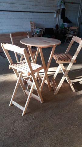 Conjunto Dobrável - mesa e cadeiras - sem pintura - Foto 4