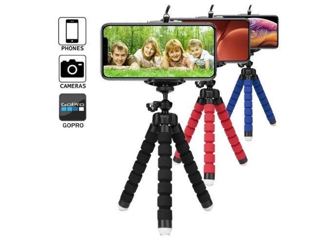 Kit Microfone De Lapela Para Celular Smartphone+Flash Led Anel Recarregável+Mini Tripé - Foto 3