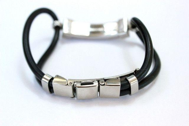Pulseira Bracelete Masculino Emborrachado Com Fecho Em Aço Inoxidável - Foto 3