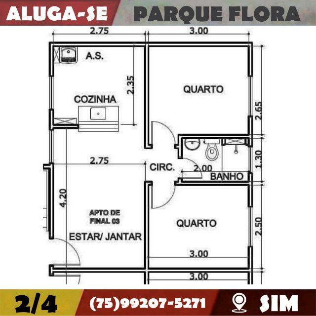 Parque Flora 2/4-Com Armários Na-Cozinha e Banheiro-Bairro-Sim-Feira de Santana-BA - Foto 2