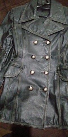 Casaco de couro legítimo P