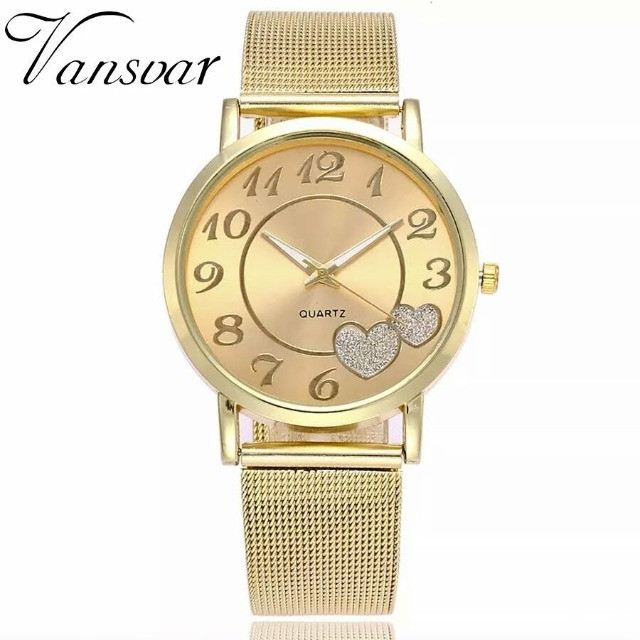 Relógio feminino vansvar dourada pulso de Couro Verniz para mulheres