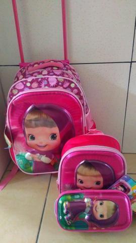 Kits 3 pecas de mochila de carrinho escolar a pronta entrega
