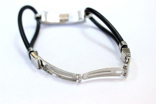 Pulseira Bracelete Masculino Emborrachado Com Fecho Em Aço Inoxidável - Foto 4