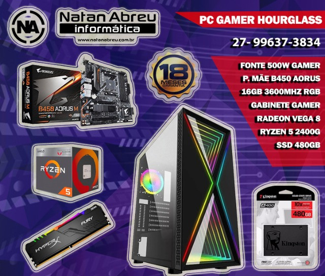 PC Gamer AMD Ryzen 5 2400G + 16GB HyperX Fury RGB + SSD 480gb + Vega 11 - Loja Natan Abreu