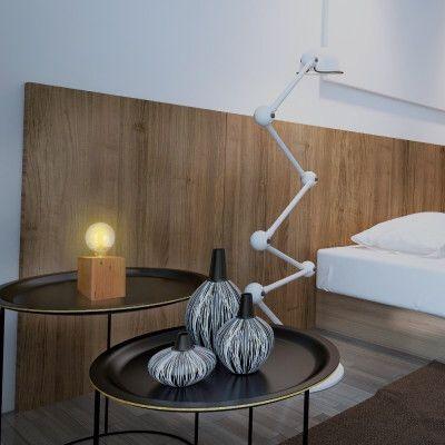 Luminaria de mesa abajur dijon industrial cubo 12x12 em madeira maciça - Foto 4