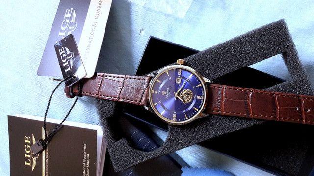 Lige Relógio masculino marca de Luxo Ultra fino - Foto 2