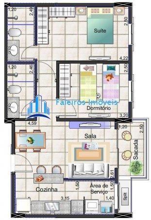 Apartamento 2 dormitórios com sacada Minha Casa Minha Vida - Apartamento em Lanç... - Foto 12