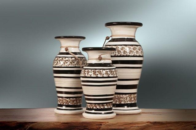 Vaso Cerâmica Colorido C/ 3 Pçs