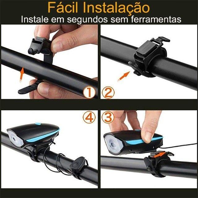 Kit Farol de Bike Com Buzina + Sinalizador Traseiro + Brinde - Foto 6