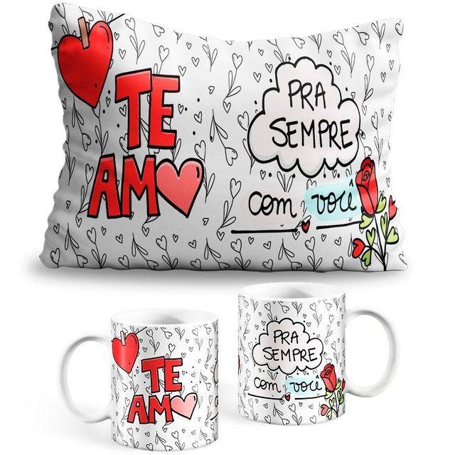 Kit Caneca e Almofada Personalizadas e Chocolate dia dos namorados - Foto 4