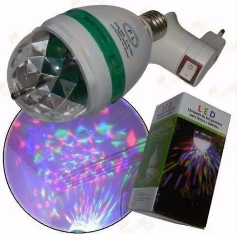 Lâmpada LED Giratória Colorida para Festas