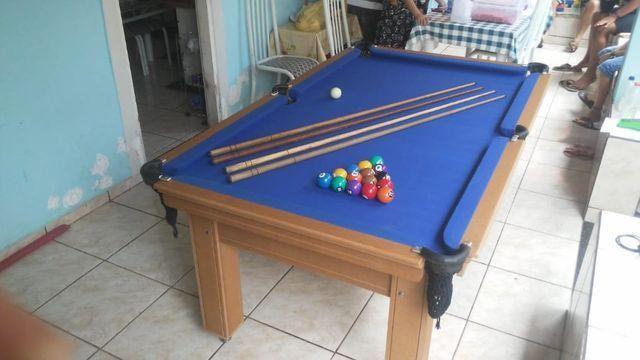 Mesa de Sinuca Verniz Cerejeira 1,93 x 1,18 Campo de jogo em Mdf Tecido Azul - Foto 5