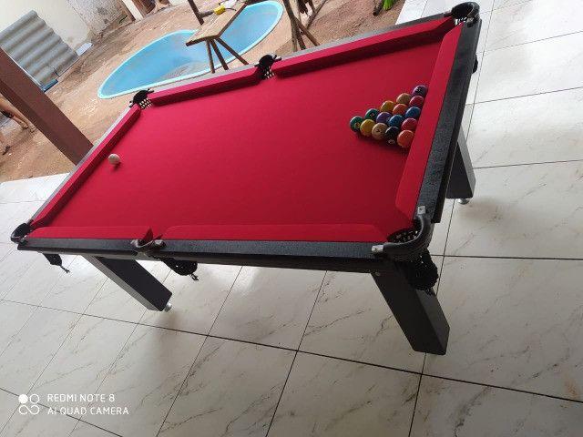 Mesa Tentação Bilhar Cor Preta Tecido Vermelho Mod. RWMA3616 - Foto 2