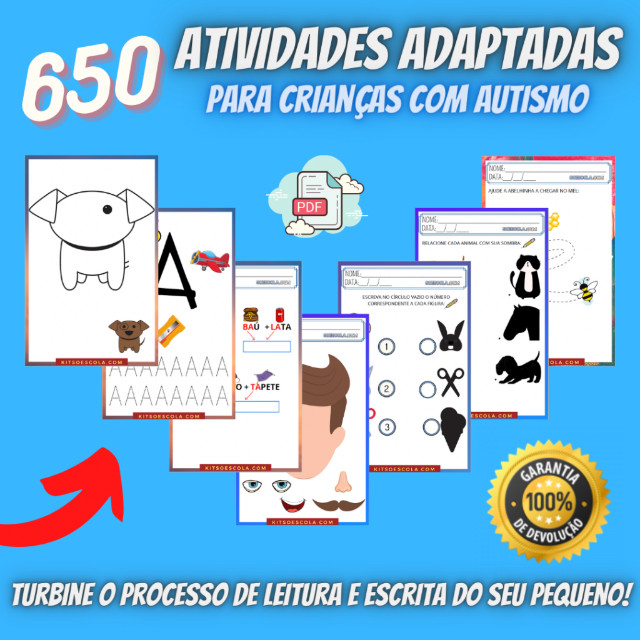""".:: Kit de Atividades Alfabetização Infantil """"Autismo"""" :: - Foto 3"""