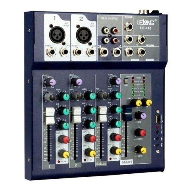 Mesa de Som Controladora Bluetooth Usb 4 Canais Le-710 - Foto 4