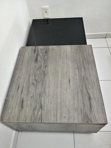 Mesa de Centro, clássica, laqueada, seminova, preta e cinza