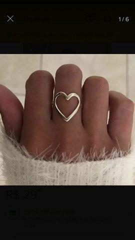 Anel coração grande em prata