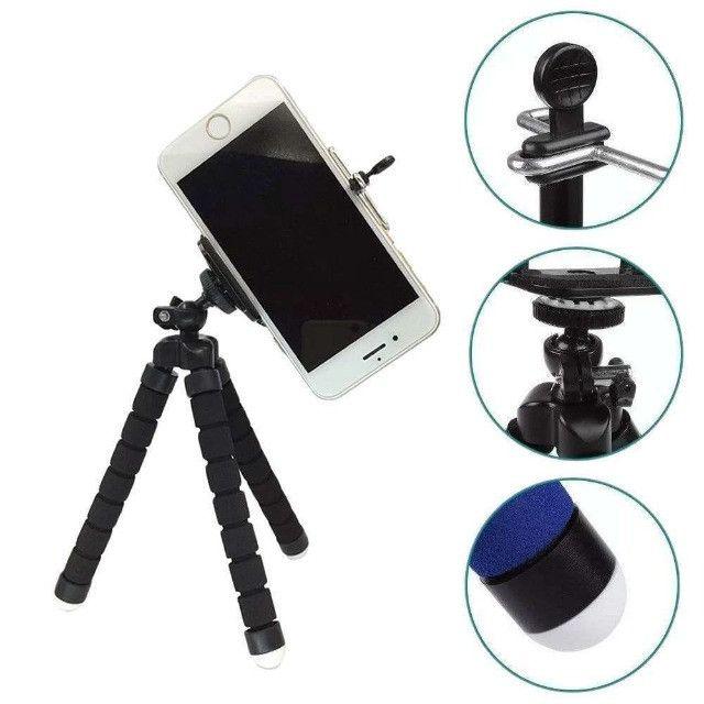 Mini Tripé Suporte Flexível para Celular Selfie Gravação - Foto 2