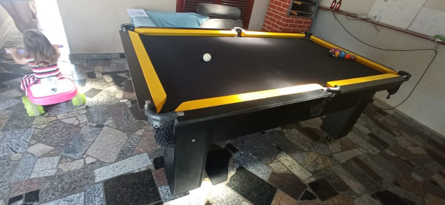 Mesa Charme de Bilhar Cor Preta Tecido Preto e Borda Amarela Mod. CSYF3789 - Foto 3