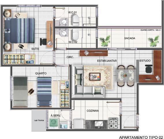 Residencial Mediterrâneo ( apartamento 2/4) Centro Barato