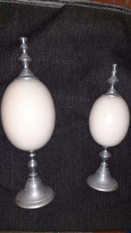 Adorno Par de ovos de avestruz e prata