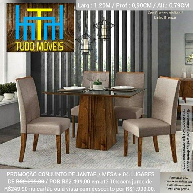 Conjunto Mesa Com Tampo De Vidro 04 Cadeiras  - Foto 3