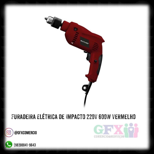 FURADEIRA ELÉTRICA DE IMPACTO 220V 600W VERMELHO