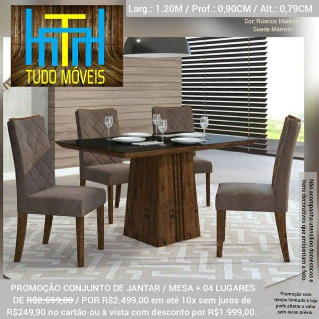 Conjunto Mesa Com Tampo De Vidro 04 Cadeiras  - Foto 4