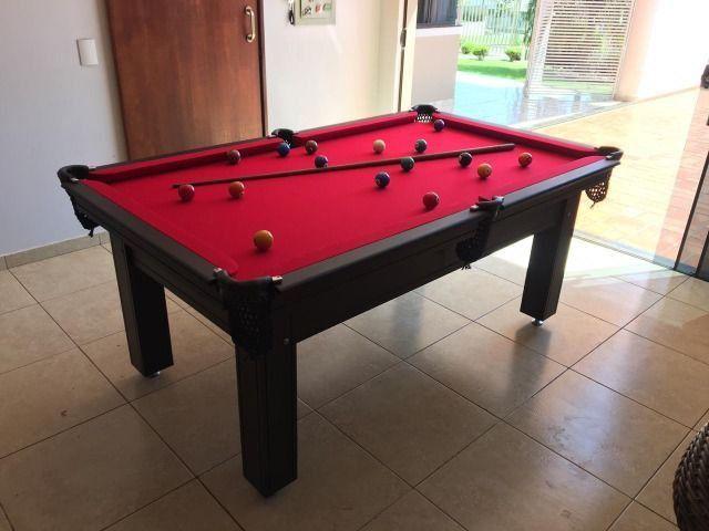 Mesa de Sinuca Tabaco Campo de jogo em Mdf Tecido Vermelho Medida 1,93 x 1,18 - Foto 2