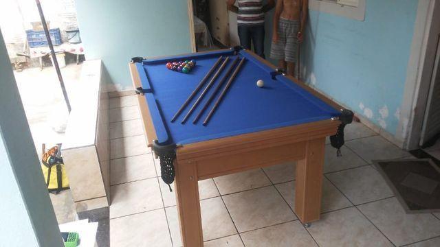 Mesa de Sinuca Verniz Cerejeira 1,93 x 1,18 Campo de jogo em Mdf Tecido Azul - Foto 2