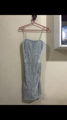 Vestido curto azul bobô