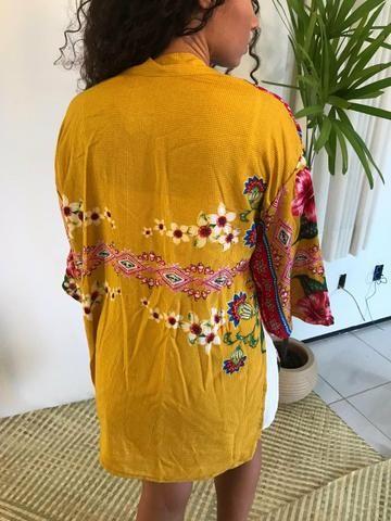 Kimono sobreposição verão moda feminina - Foto 3