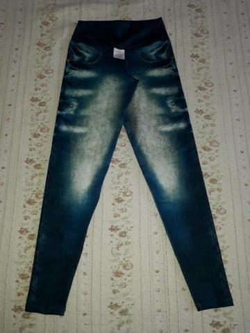 Calça Legging Cintura Alta Imita Jeans - Foto 3
