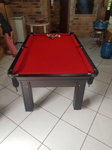 Mesa de Sinuca 1,93 x 1,18 Tabaco Campo de jogo em Mdf Tecido Vermelho - Foto 3
