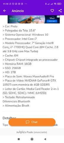 Notebook Dell Gaming i7 7° Geração HQ  Troco por CPU - Foto 3