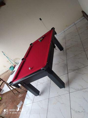 Mesa Tentação Bilhar Cor Preta Tecido Vermelho Mod. RWMA3616