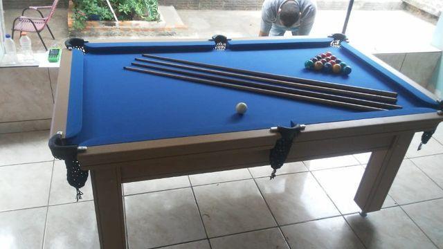 Mesa de Sinuca Verniz Cerejeira 1,93 x 1,18 Campo de jogo em Mdf Tecido Azul - Foto 3