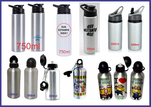 Squeeze Alumínio Personalizado 500ml = 29,00 - 600ml= 32,00 e 750ml =39,00